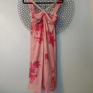 Breezy Sweat Pea dahlia print dress, two pink tone